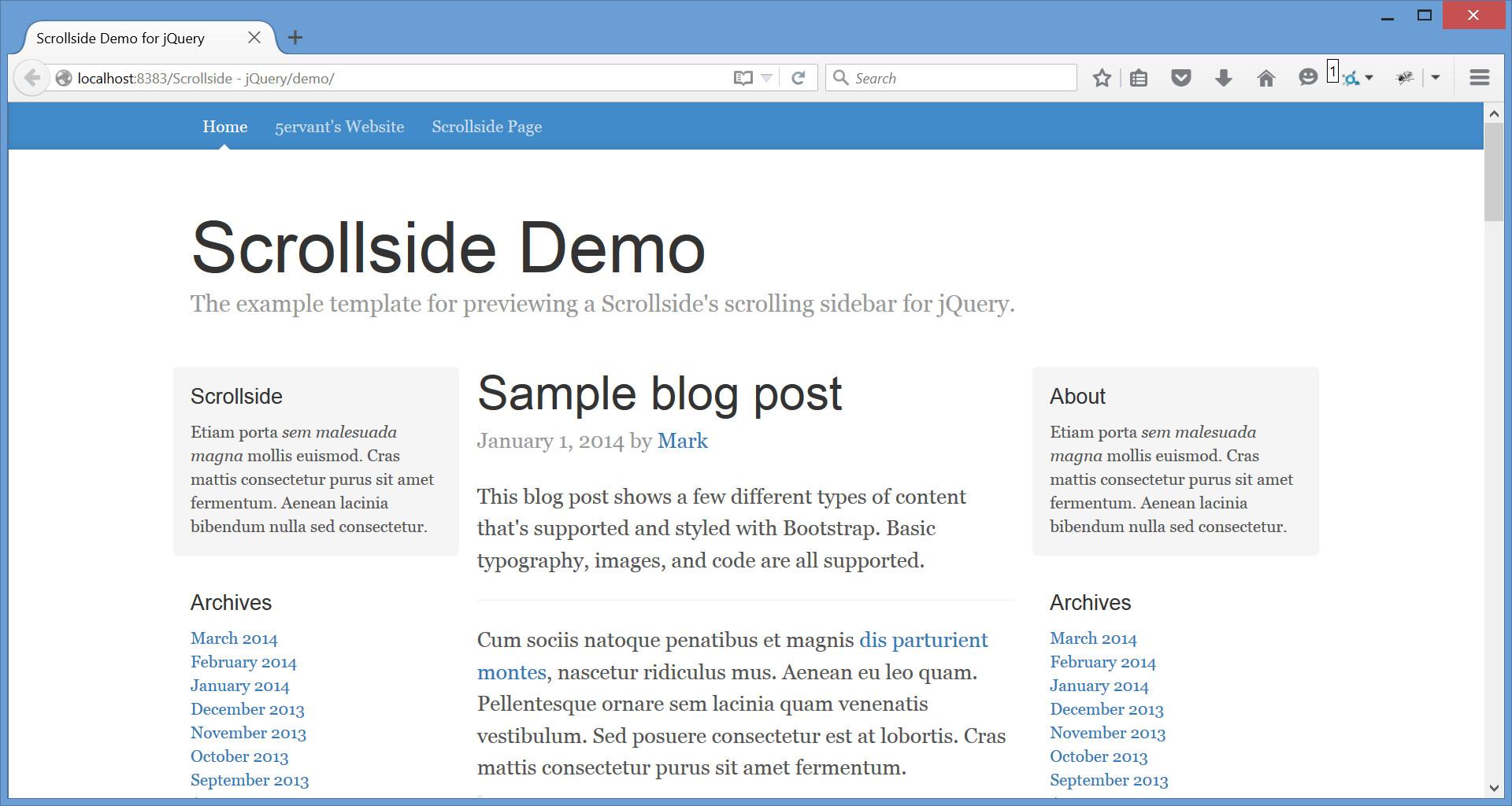 Documentation of Scrollside for jQuery